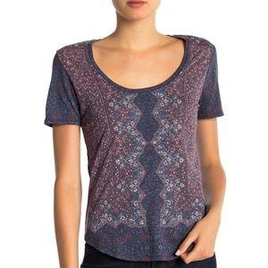 Lucky Brand T Shirt Purple Allover Print Tee Sz L